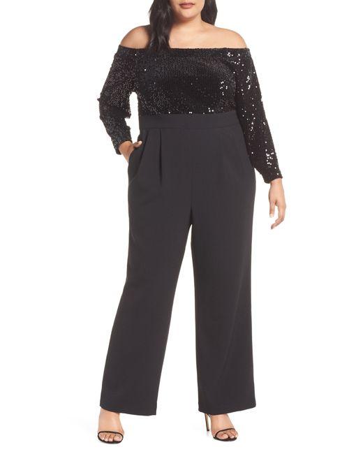 Eliza J - Black Off The Shoulder Sequin Velvet & Crepe Jumpsuit - Lyst