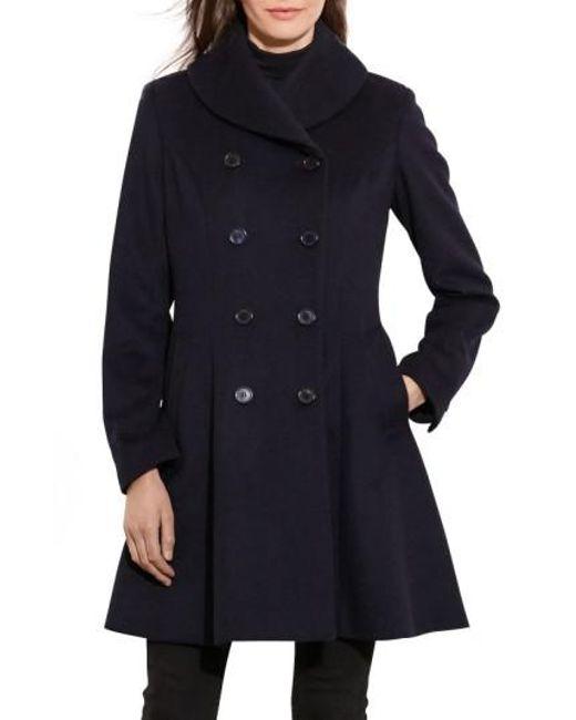 Lauren by Ralph Lauren | Blue Fit & Flare Military Coat | Lyst