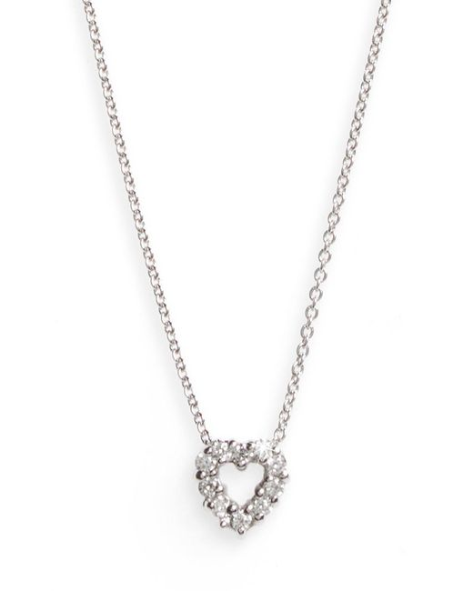 Roberto Coin - Metallic 'tiny Treasures' Diamond Heart Pendant Necklace - Lyst
