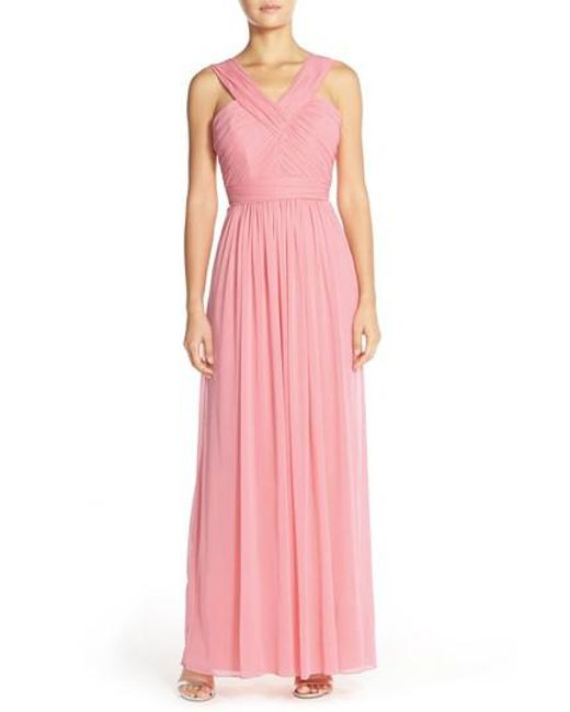Alfred Sung | Pink Shirred Chiffon V-neck Gown | Lyst