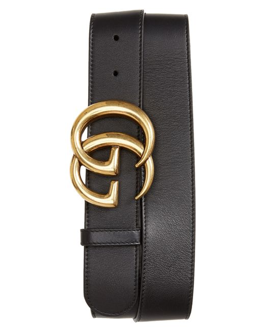 Gucci Black Men's Running GG Logo Leather Belt for men