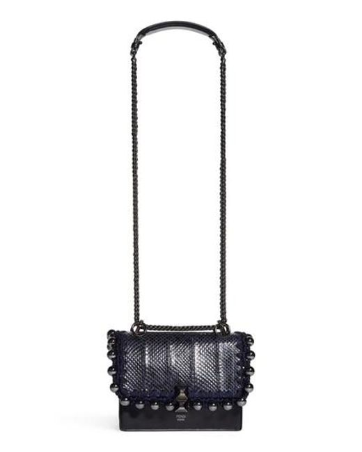 876087884e91 ... france fendi black small kan i genuine snakeskin leather beaded  shoulder bag lyst cd8bb 4e3f7