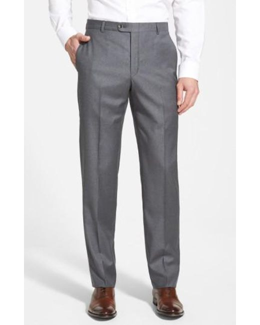 Hickey Freeman - Gray 'b Series' Flat Front Wool Trousers for Men - Lyst