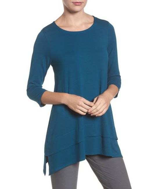 Eileen Fisher | Blue Tiered Handkerchief Hem Tunic | Lyst