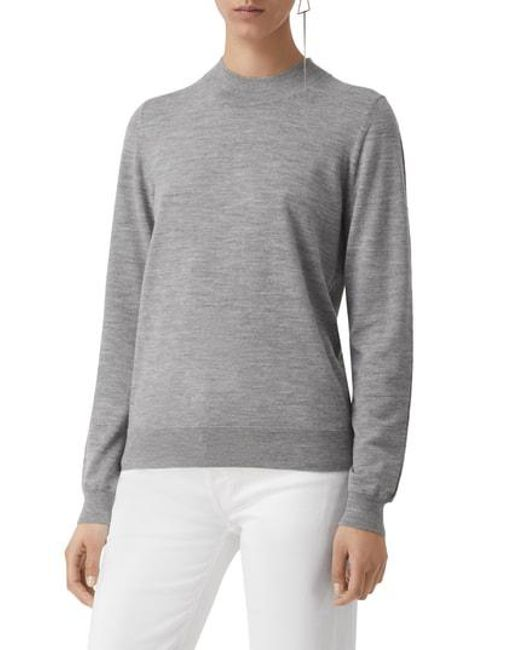 fecc4d082b63 Lyst - Burberry Pondhead Merino Wool Sweater in Gray
