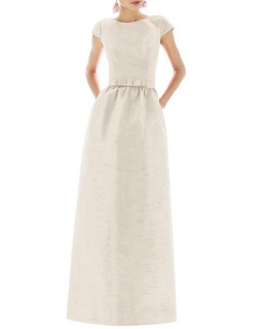 Alfred Sung - Metallic Cap-Sleeve Dupioni Full-Length Dress - Lyst
