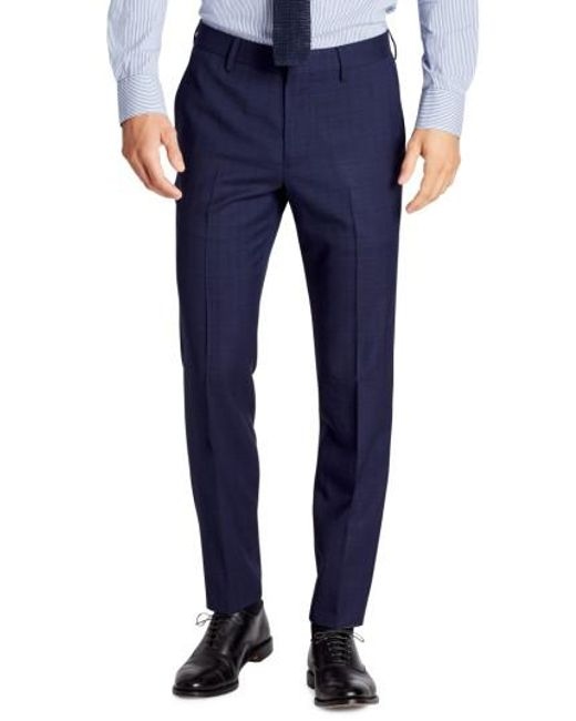 Bonobos | Blue Jetsetter Flat Front Plaid Stretch Wool Trousers for Men | Lyst