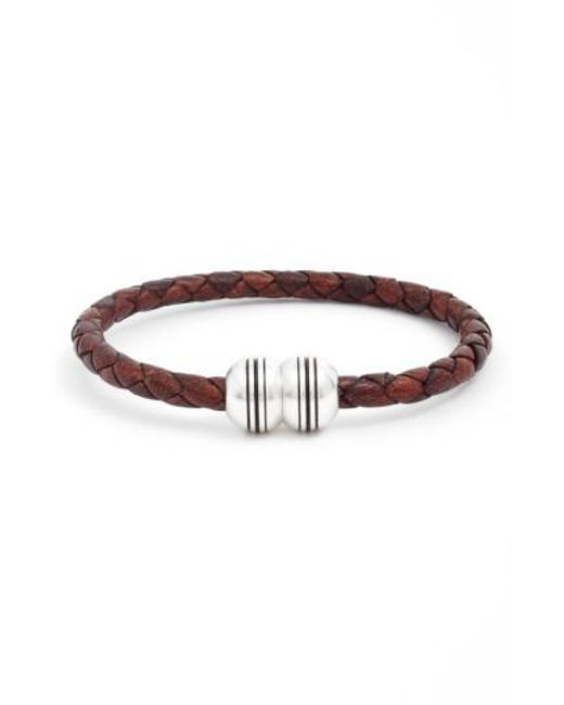 Torino Leather Company | Metallic Braided Leather Bracelet for Men | Lyst