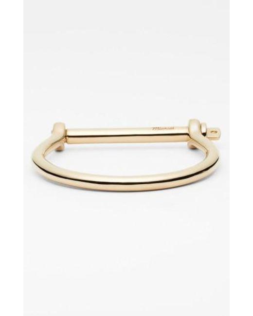 Miansai - Metallic Gold Plated Screw Cuff Bracelet for Men - Lyst