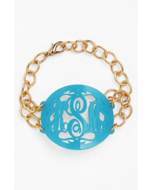 Moon & Lola | Blue 'annabel' Large Oval Personalized Monogram Bracelet (nordstrom Exclusive) | Lyst