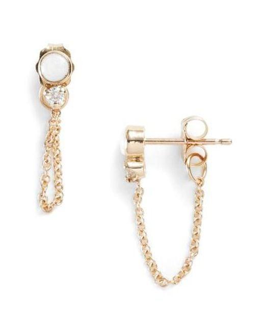 Zoe Chicco - Metallic Diamond & Opal Front Back Earrings - Lyst