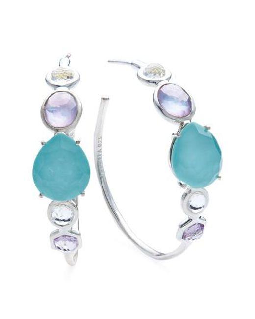 Ippolita - Blue Rock Candy Mixed Stone Bezel Hoop Earrings - Lyst