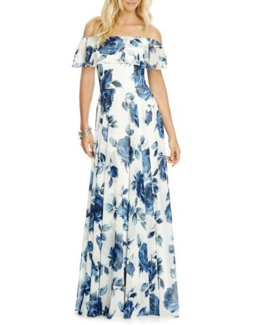 After Six | Blue Floral Chiffon Off The Shoulder Gown | Lyst