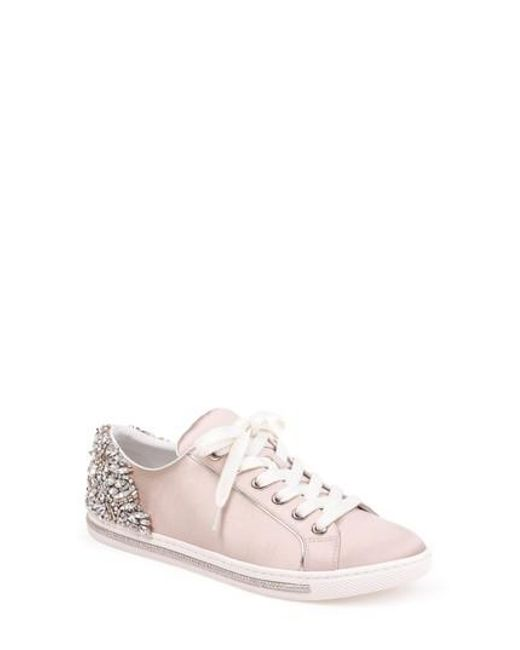 Badgley Mischka Women's Shirley Embellished Satin Low Top Lace Up Sneakers v3TRMuqDcR