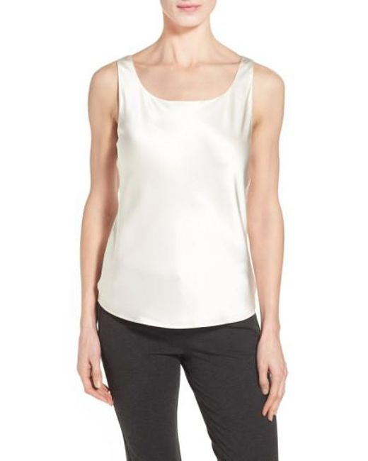 Lafayette 148 New York | Metallic Silk Charmeuse Tank | Lyst