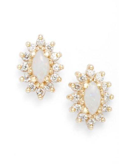 Zoe Chicco - Metallic Diamond & Opal Cluster Stud Earrings - Lyst
