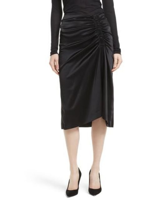 Theory | Black Ruched Stretch Satin Skirt | Lyst