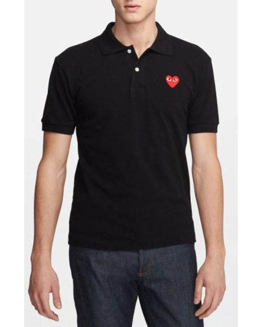 Play Comme des Garçons - Red Play Pique Polo With Heart Applique for Men - Lyst