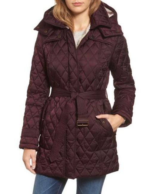 London Fog | Purple Quilted Coat With Faux Shearling Lining | Lyst
