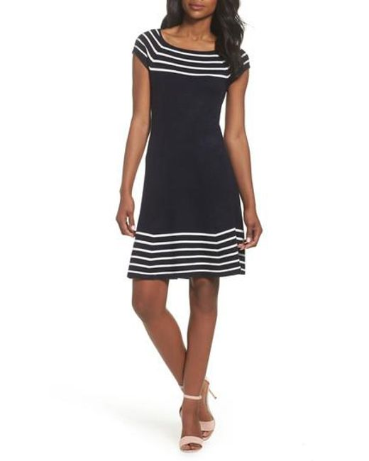 Eliza J - White Stripe Knit Flared Dress - Lyst