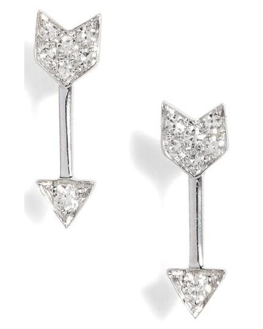 EF Collection - Metallic Diamond Arrow Stud Earrings - Lyst