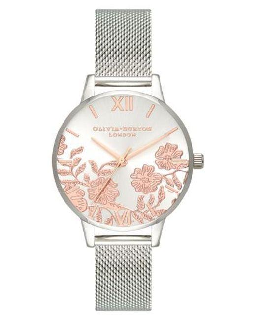 Olivia Burton - Metallic Lace Detail Mesh Strap Watch - Lyst