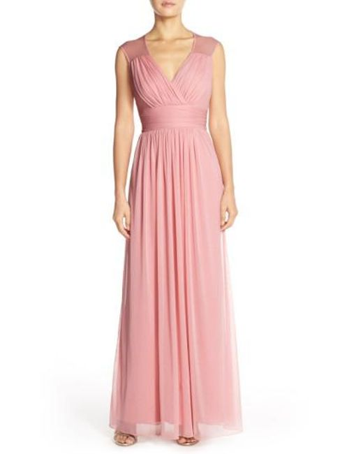 Alfred Sung | Pink Shirred Chiffon Cap Sleeve Gown | Lyst