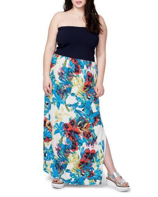 RACHEL Rachel Roy | Blue Strapless Mixed Media Maxi Dress | Lyst