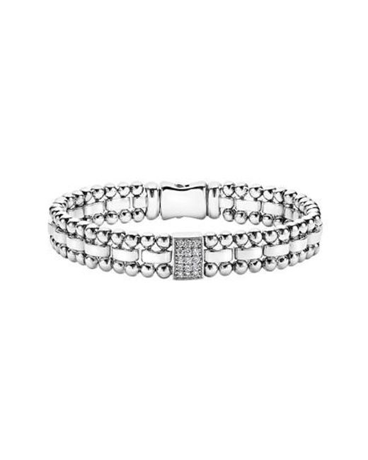 Lagos - Metallic Caviar Spark Diamond Rectangle Link Bracelet - Lyst