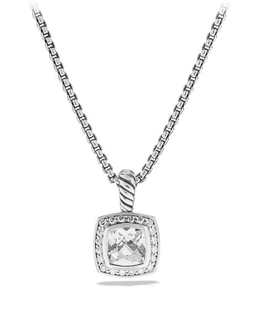 David Yurman - Metallic 'albion' Pendant With Semiprecious Stone & Diamonds On Chain - Lyst