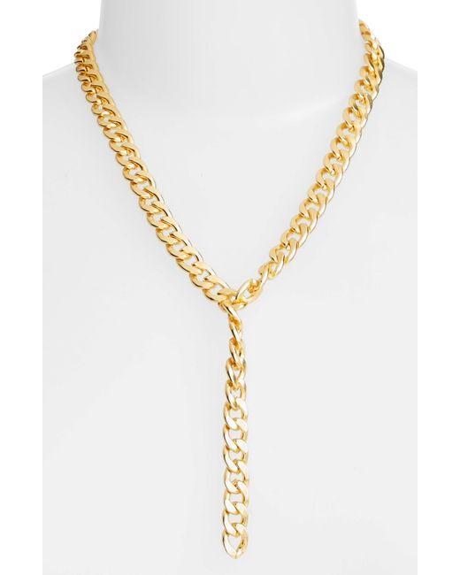 Karine Sultan - Metallic Y-necklace - Lyst