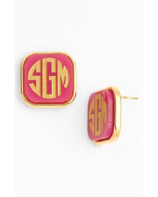 Moon & Lola - Pink 'vineyard' Personalized Monogram Stud Earrings - Lyst