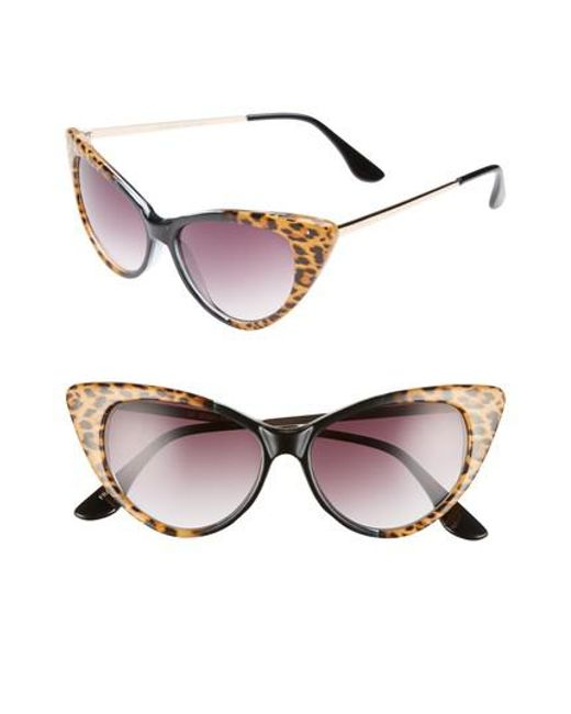 GLANCE EYEWEAR - Brown 62mm Leopard Print Cat Eye Sunglasses - - Lyst