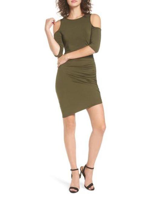 Soprano   Green Ruched Cold Shoulder Dress   Lyst