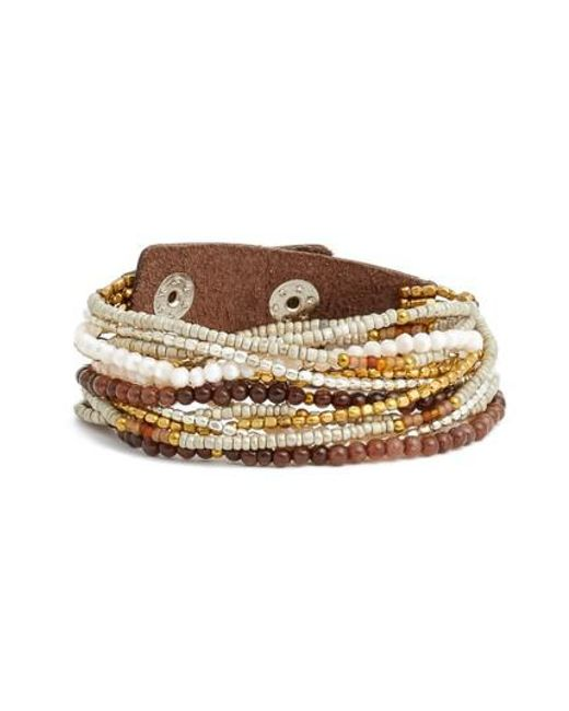 Nakamol | Brown Beaded Wrap Bracelet | Lyst