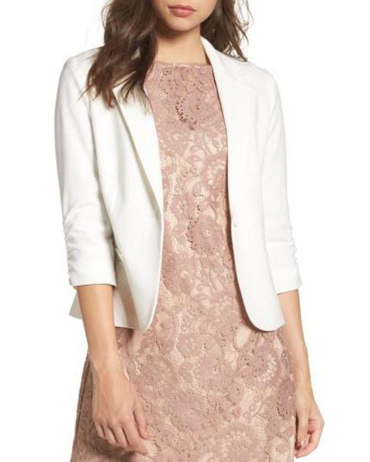 Eliza J | White Ruched Sleeve Blazer | Lyst