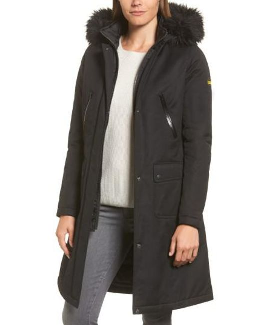 Barbour | Black Mondello Hooded Water Resistant Jacket With Faux Fur Trim | Lyst