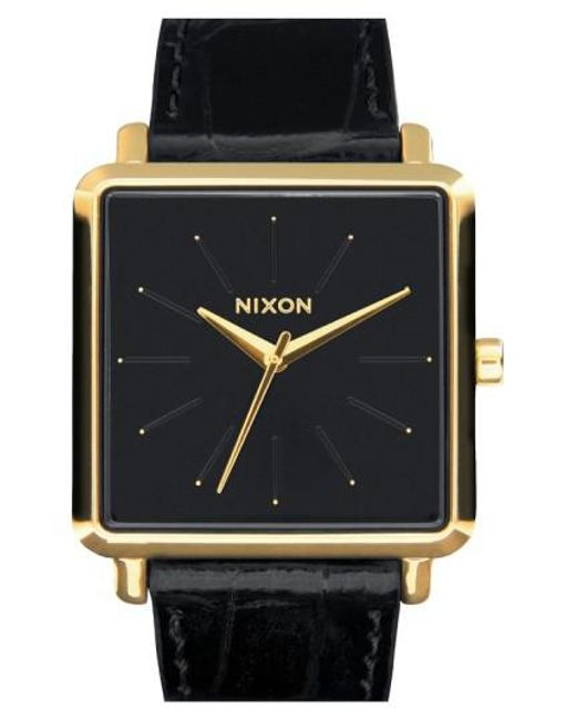 Nixon - Black 'the K Squared' Leather Strap Watch - Lyst