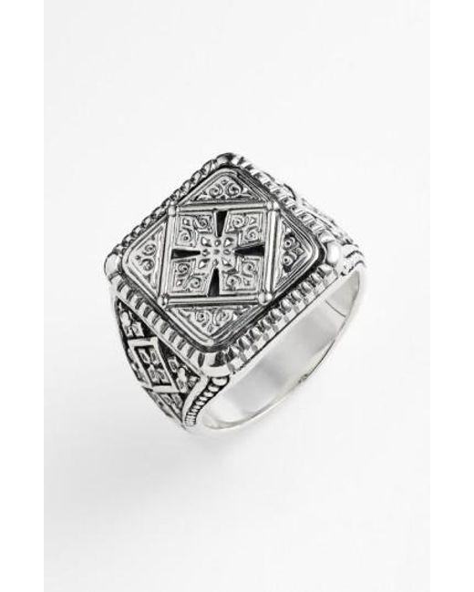 Konstantino | Metallic 'classics' Cross Square Ring for Men | Lyst