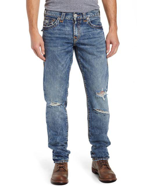 True Religion - Blue Geno Straight Leg Jeans for Men - Lyst