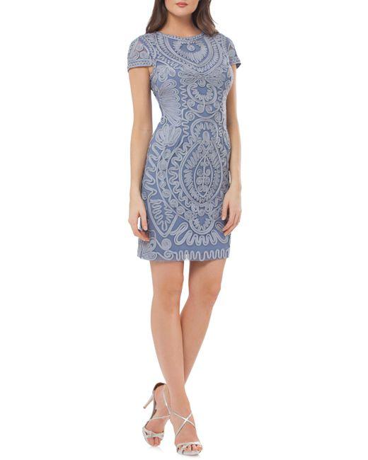 JS Collections - Blue Short Sleeve Soutache Cocktail Dress - Lyst