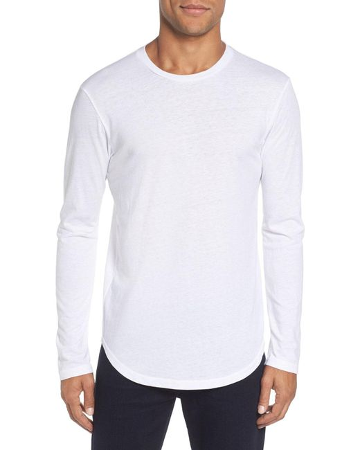 Goodlife - White Triblend Scallop Long Sleeve Crewneck T-shirt for Men - Lyst
