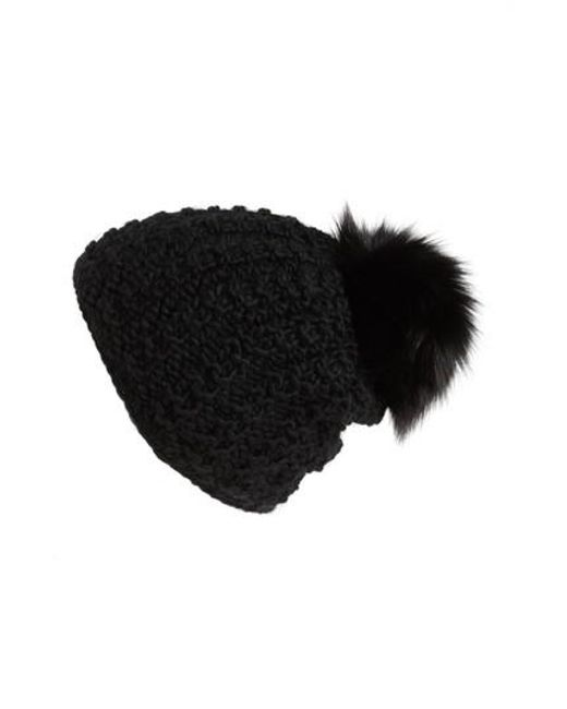 Kyi Kyi - Black Genuine Fox Pompom Hat - Lyst