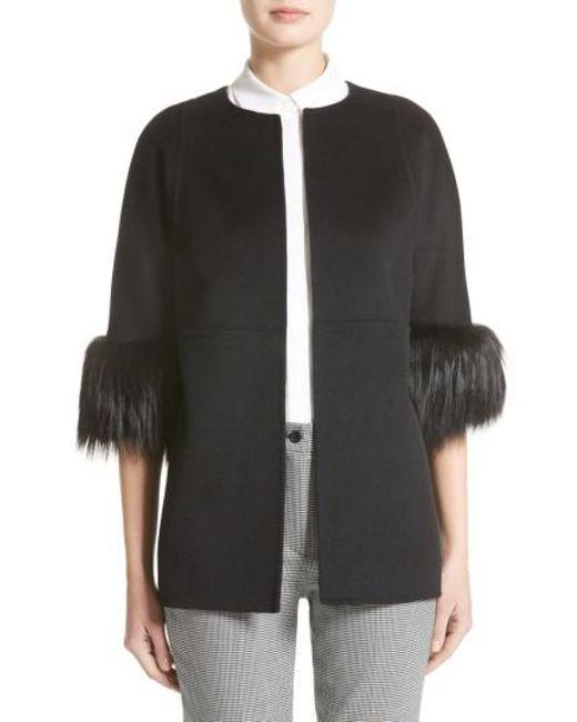 Michael Kors | Black Genuine Fox Fur Trim Wool Blend Jacket | Lyst