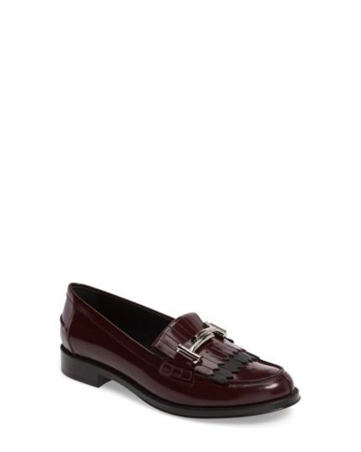 Tod's | Black Double T Kiltie Fringe Loafer | Lyst