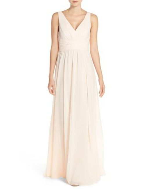 Amsale | Multicolor 'justine' Double V-neck Chiffon Gown | Lyst