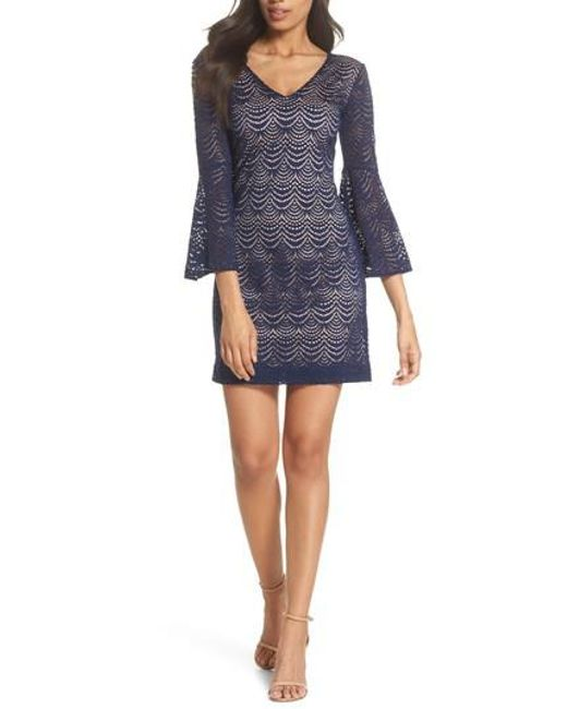 Lilly Pulitzer - Blue Lilly Pulitzer Nicoline Bell Sleeve Lace Dress - Lyst