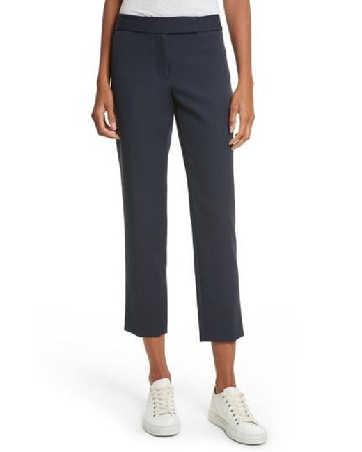 MILLY | Blue Stretch Crepe Cigarette Pants | Lyst