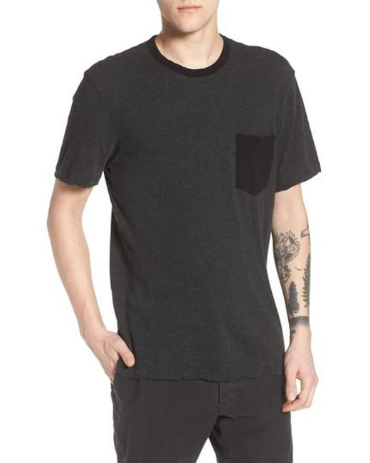 James Perse - Black Two-tone Pocket T-shirt for Men - Lyst