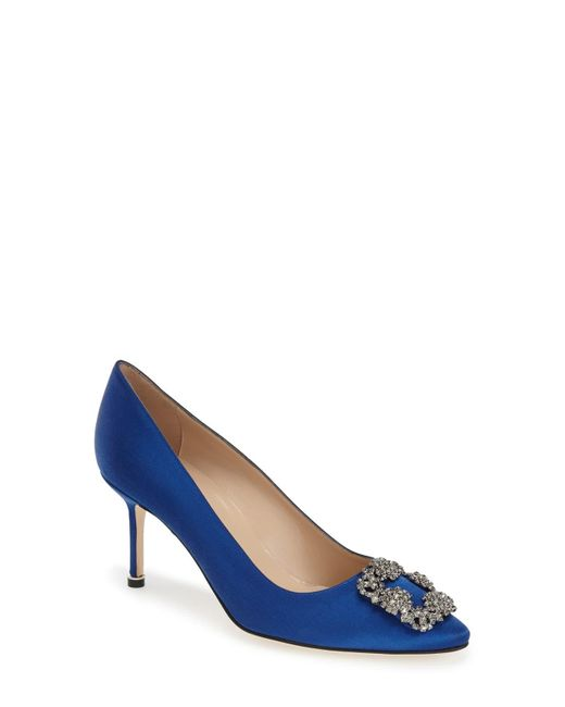 Manolo Blahnik Blue 'hangisi' Pointy Toe Pump